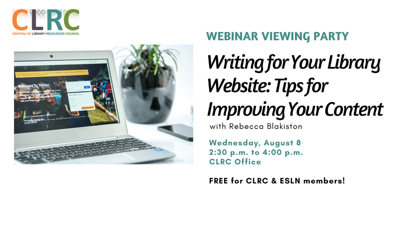 Webinar Viewing Party: Writing for Your Library Website (8/8)