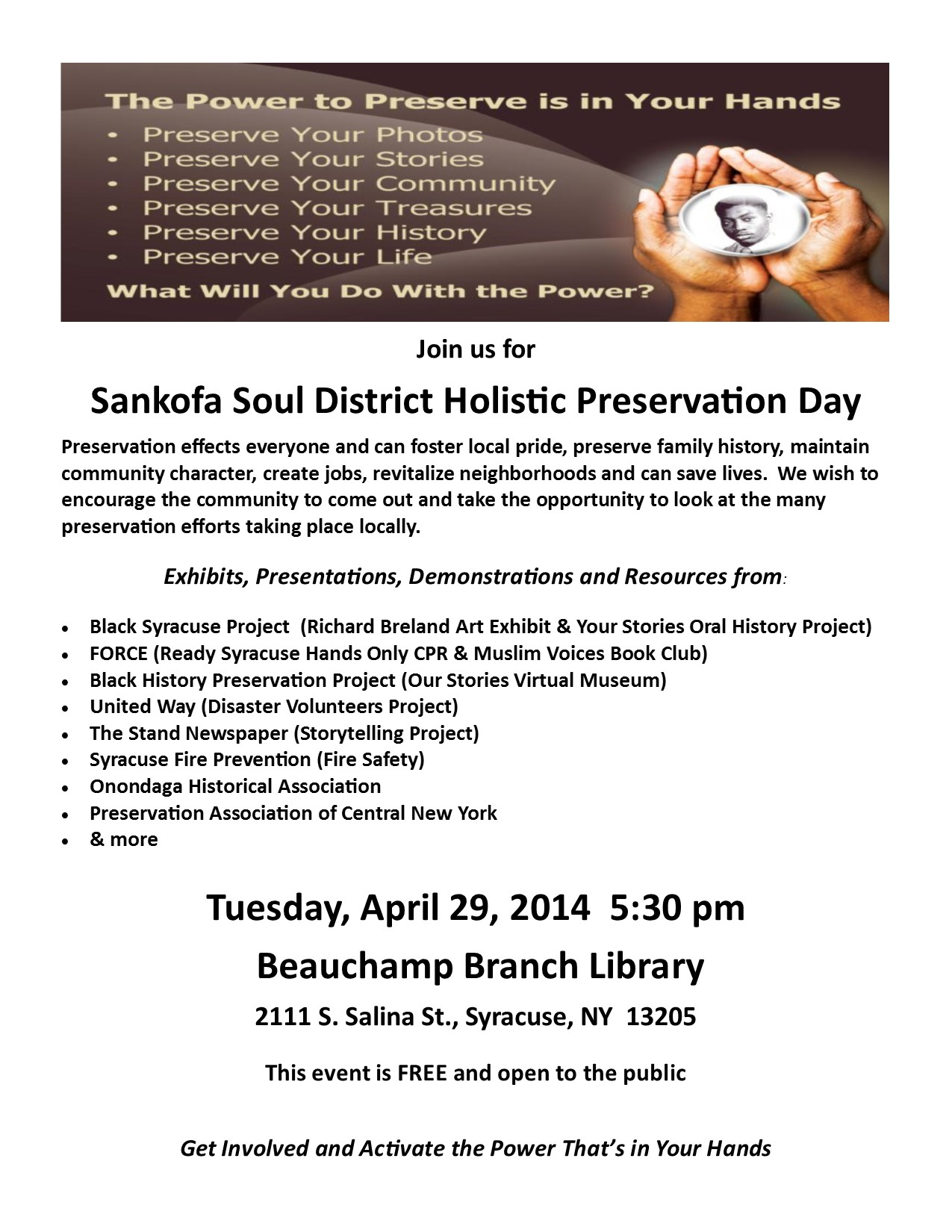Sankofa Soul District Holistic Preservation Day Flier